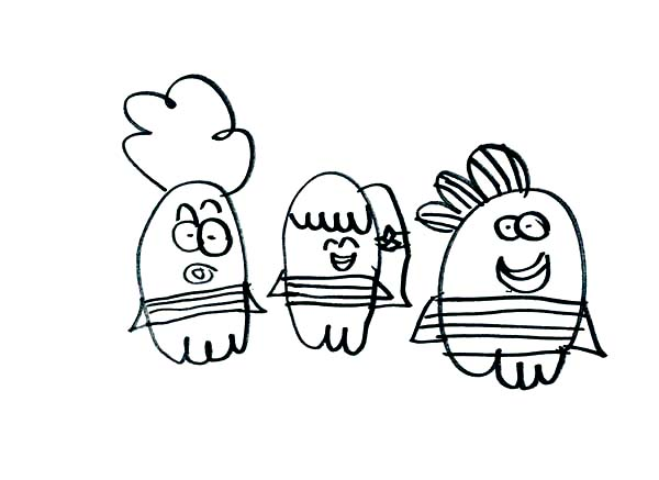 Fish Hooks, : How to Draw from Fish Hooks Main Characters Coloring Page