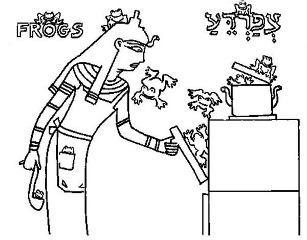 10 Plagues of Egypt, : I Will Smite All Thy Borders with Frogs in 10 Plagues of Egypt Coloring Page