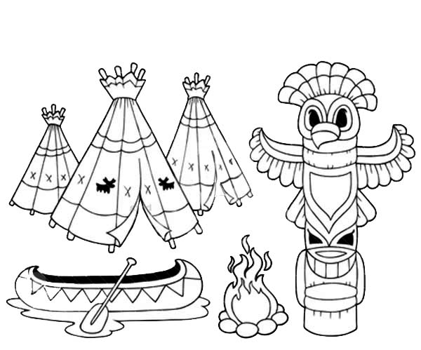 Native American Day, : Indian Tradition of Native American Totem on Native American Day Coloring Page