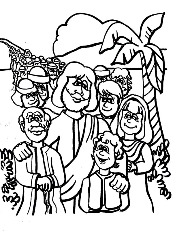 Disciples, : Jesus Christ and Disciples Coloring Page
