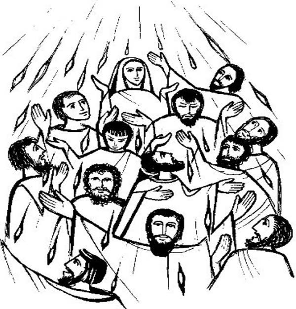 Disciples, : Jesus Christ and Disciples in Pentecost Coloring Page