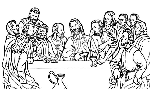 Disciples, : Jesus Christ with 12 Disciples Last Supper Coloring Page
