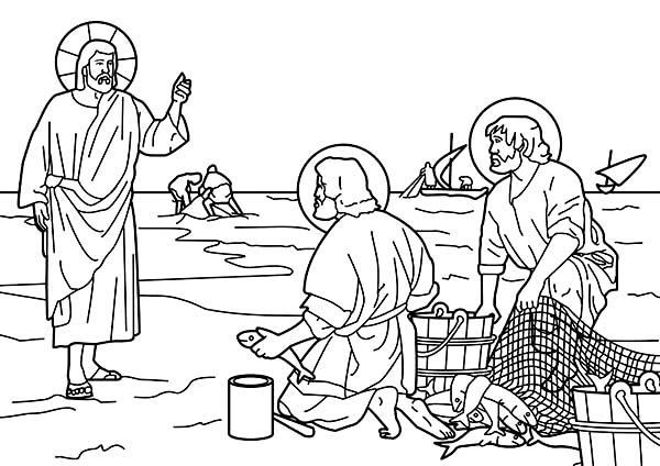 Disciples, : Jesus Disciples Catch Fish Coloring Page