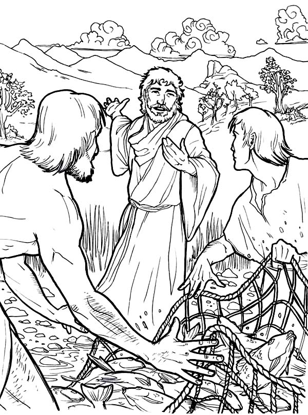 Disciples, : Jesus Disciples and Fishing Net Coloring Page