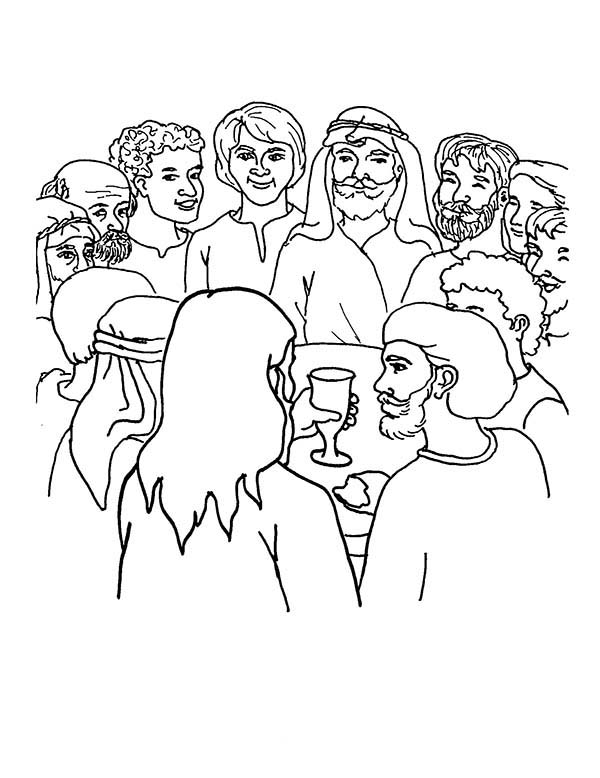 Disciples, : Jesus Drink with His Disciples Coloring Page