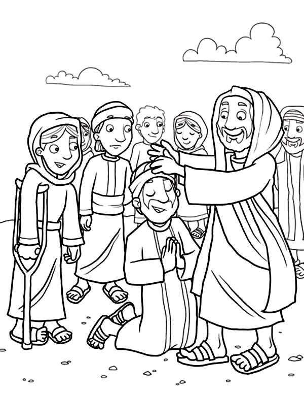 Jesus Heals The Sick With His Disciples Coloring Page Coloring Sun