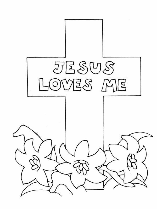 Cross, : Jesus Loves Me Cross Coloring Page