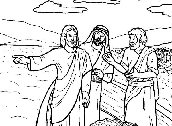 Disciples, : Jesus Tells Disciples to Fish Coloring Page