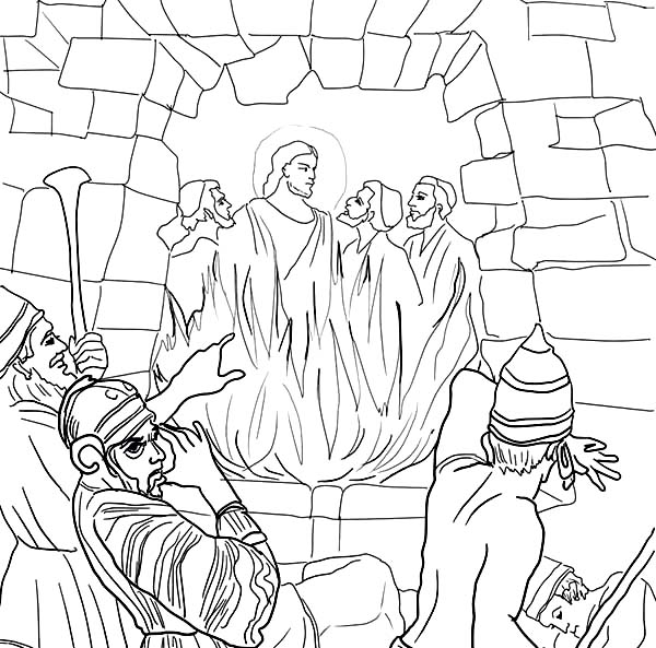 Disciples, : Jesus and His Disciples Inside Furnace Coloring Page