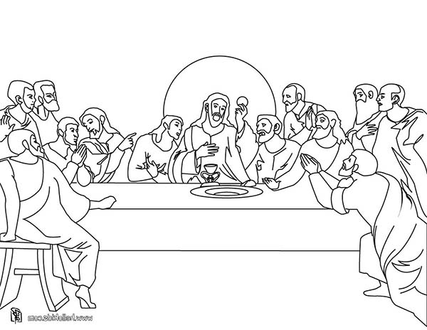 Disciples, : Jesus and His Twelve Disciples in Last Supper Coloring Page