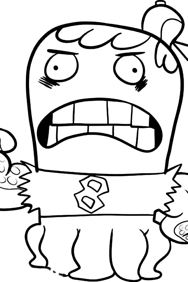 Fish Hooks, : Joctopus is Angry in Fish Hooks Coloring Page