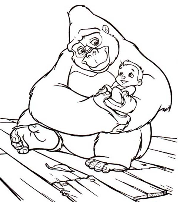 Tarzan, : Kala Carrying Little Tarzan Coloring Page