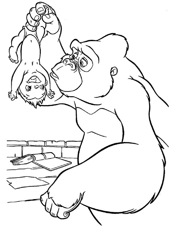 Tarzan, : Kala Holding Little Tarzan Upside Down Coloring Page