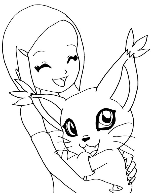 Digimon, : Kari Love Her Digimon Gatomon Coloring Page