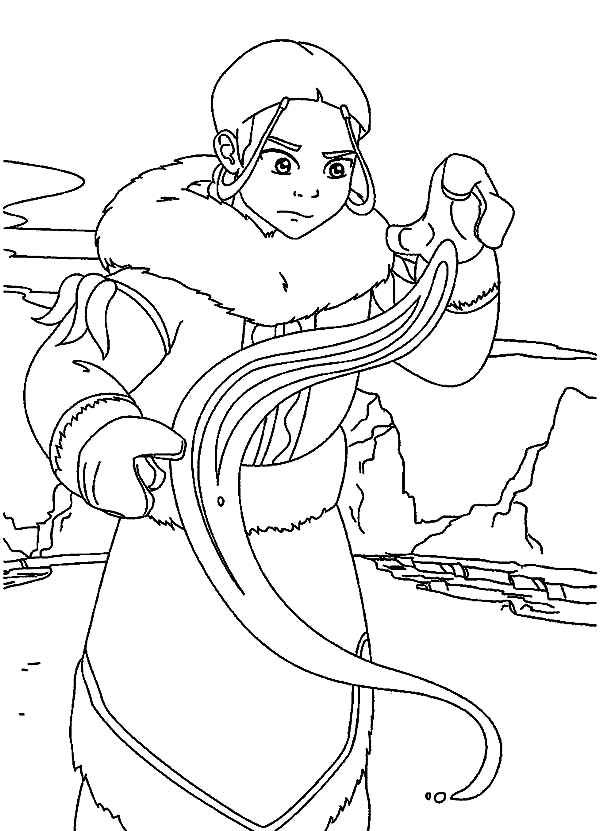 Avatar the Last Air Bender, : Katara Learn to Bend in Avatar the Last Air Bender Coloring Page