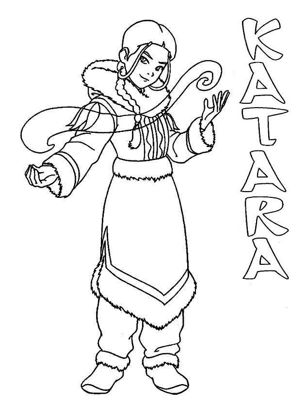 Avatar the Last Air Bender, : Katara from Avatar the Last Air Bender Coloring Page