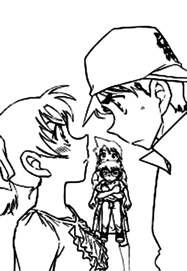 Detective Conan, : Kazuha Toyama Blushing When She Stare at Heiji Hattori Eyes in Front of Detective Conan and Ran Coloring Page