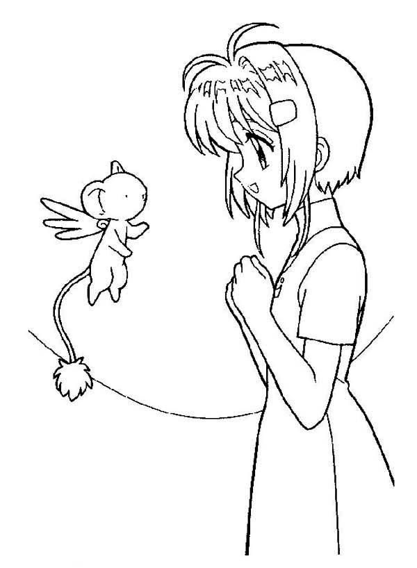 Cardcaptor Sakura, : Kero Talk to Sakura in Cardcaptor Sakura Coloring Page
