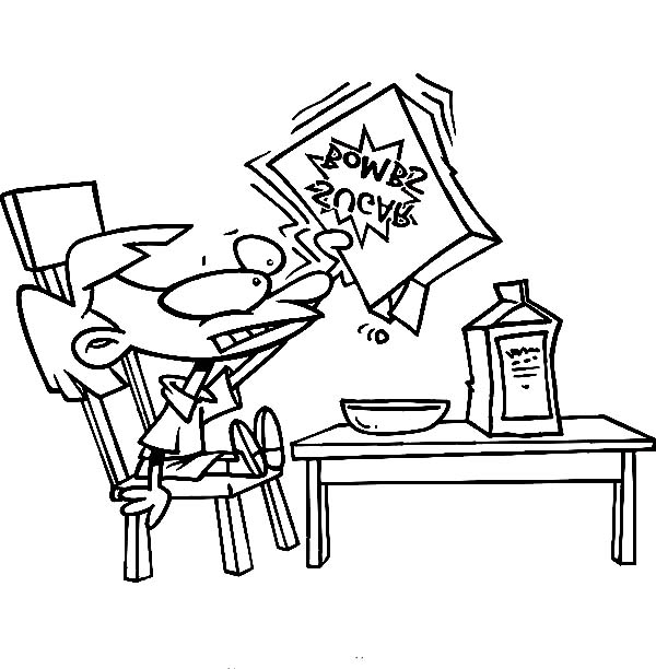 Breakfast, : Kid Eating Cereal for Breakfast Coloring Page