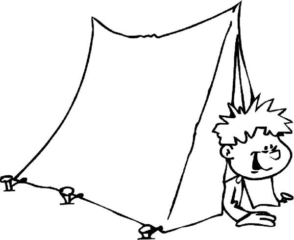 Camping, : Kid Just Wake Up from Camping Tent Coloring Page