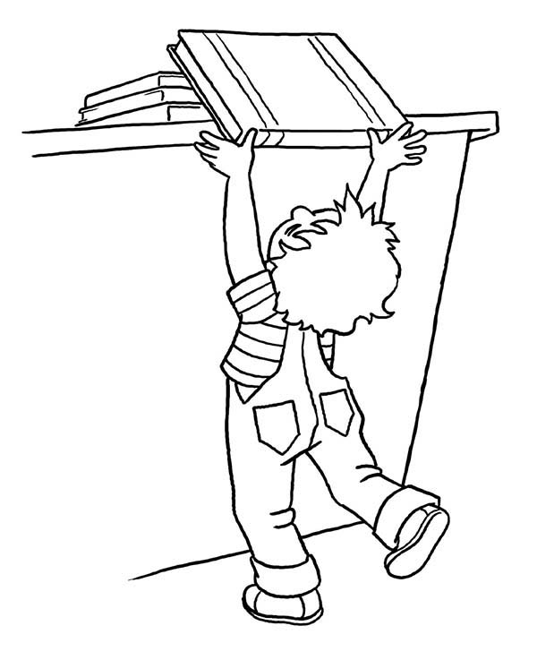 Books, : Kid Returning Book Coloring Page