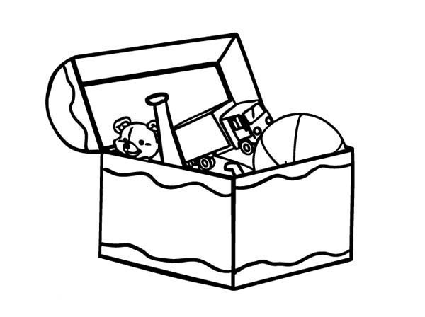 Box, : Kid Toy Box Coloring Page