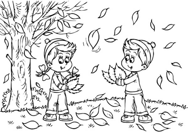 Autumn, : Kids Collecting Autumn Leaves Coloring Page