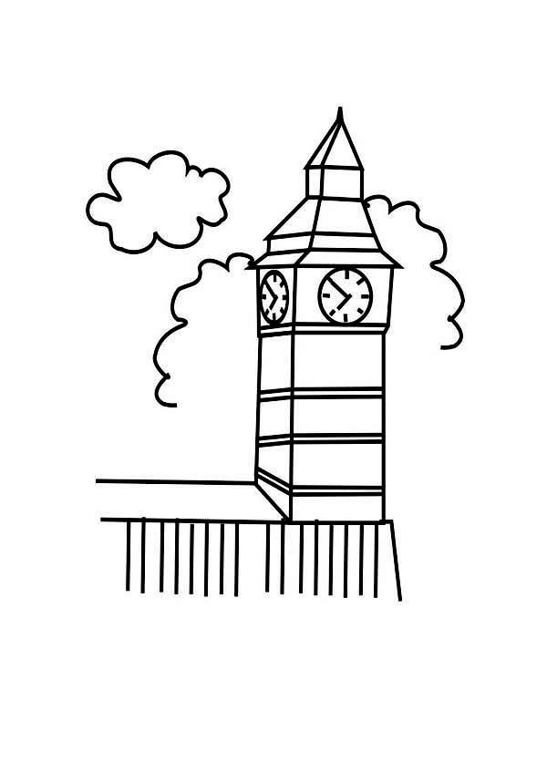 Big Ben, : Kids Drawing Big Ben Coloring Page