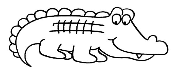 Crocodile, : Kids Drawing of Crocodile Coloring Page