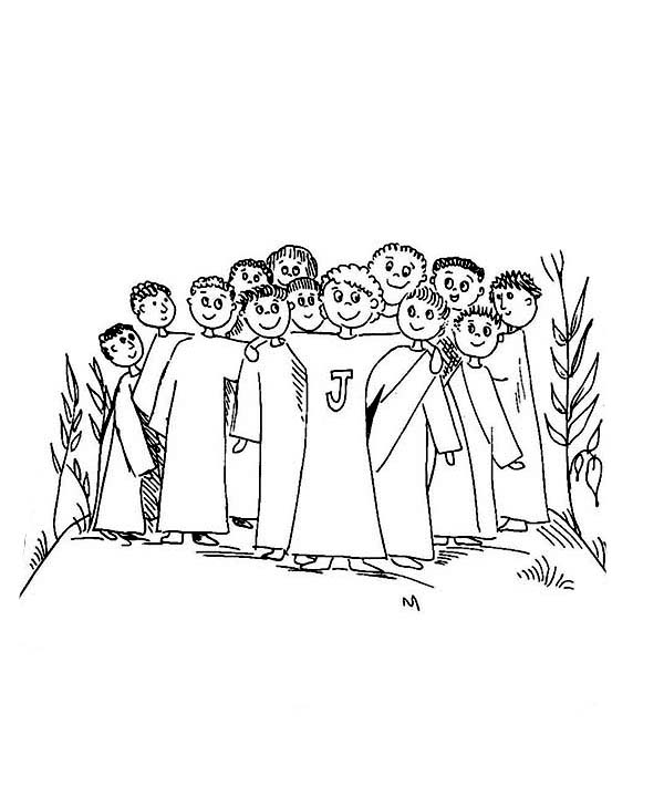 Disciples, : Kids Drawing of Jesus Disciples Coloring Page