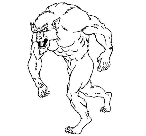 Werewolf, : Kids Drawing of Werewolf Coloring Page