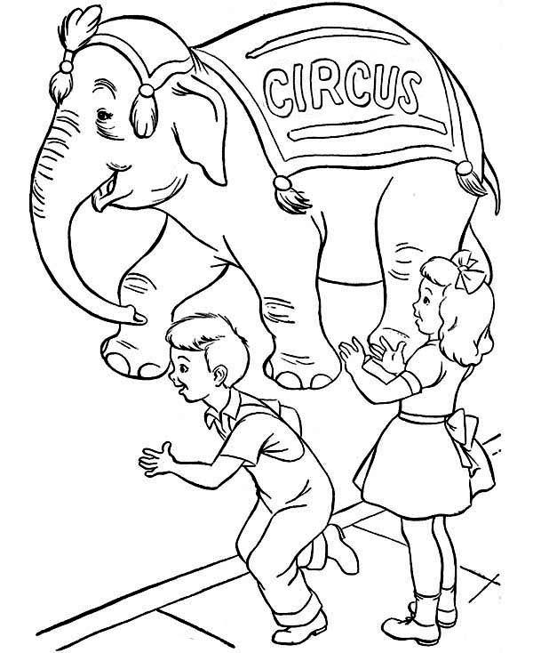 Circus, : Kids Love Watching Circus Coloring Page