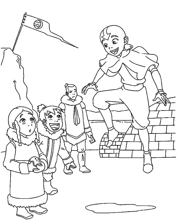 Avatar the Last Air Bender, : Kids at Water Tribe Watching Aang Flying in Avatar the Last Air Bender Coloring Page
