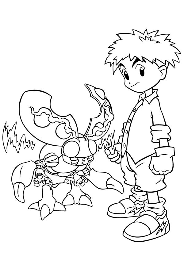 Digimon, : Koushiro Izumi and His Digimon Tentomon Coloring Page