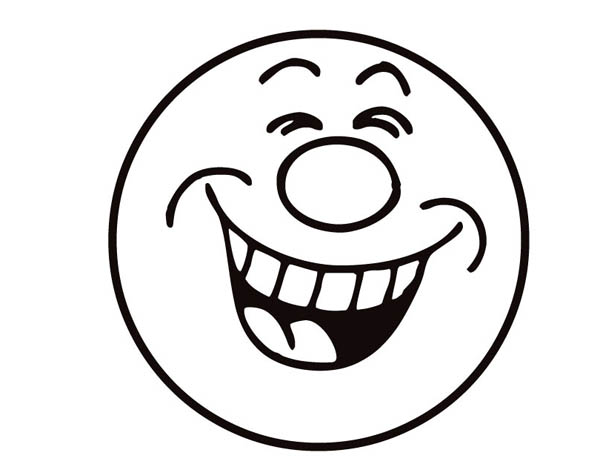 Face, : Laugh Smiley Face Coloring Page