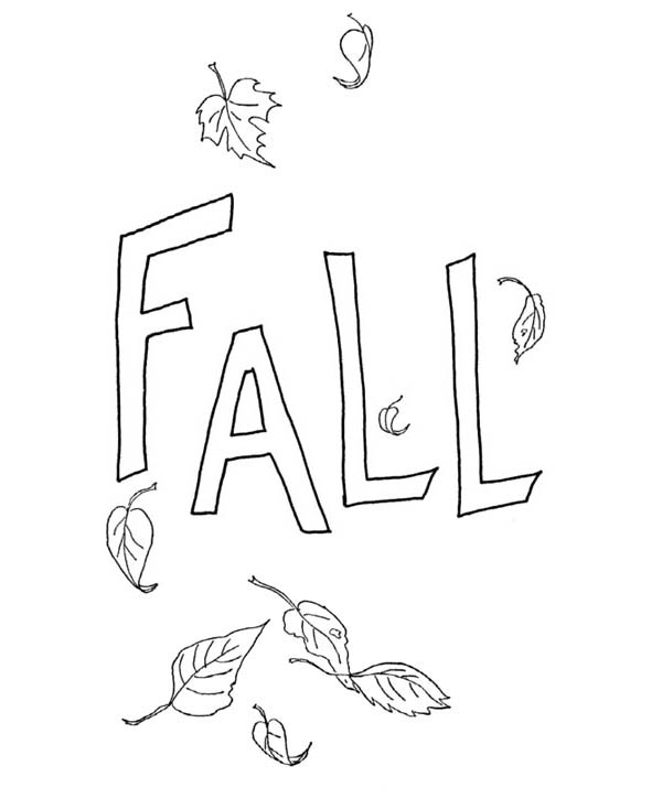 Autumn, : Leaves in Autumn Season Coloring Page