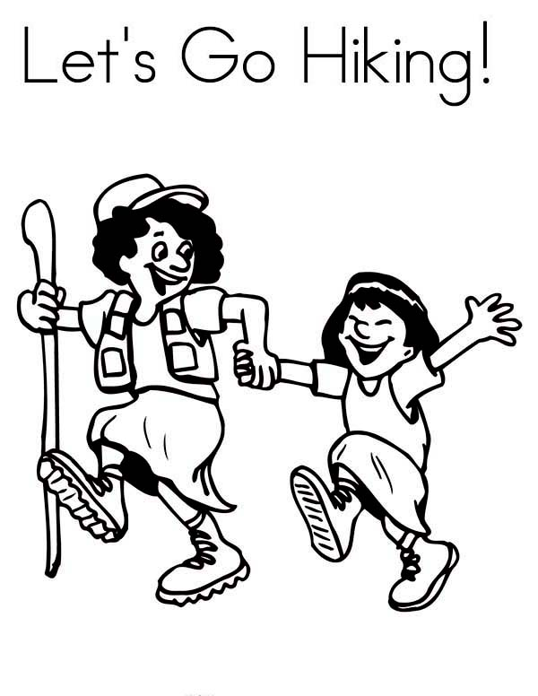 Camping, : Lets Go Hiking and Camping Coloring Page