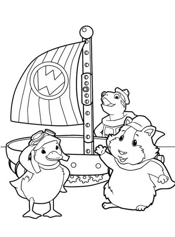 The Wonder Pets, : Linny Turtle Tuck and Ming Ming Get Ready to Sail in Wonder Pets Coloring Page