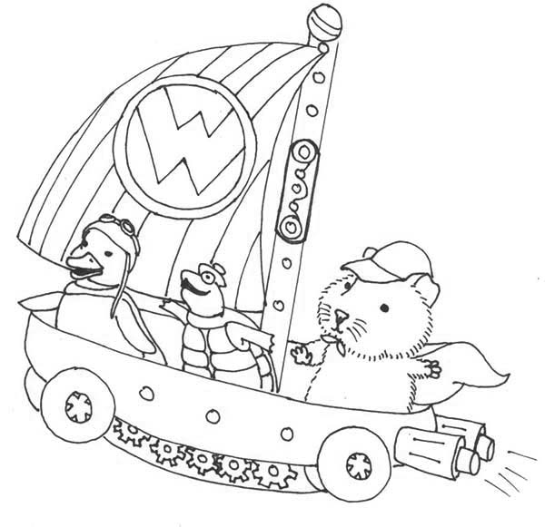 The Wonder Pets, : Linny Turtle Tuck and Ming Ming Sailing on Little Boat in Wonder Pets Coloring Page