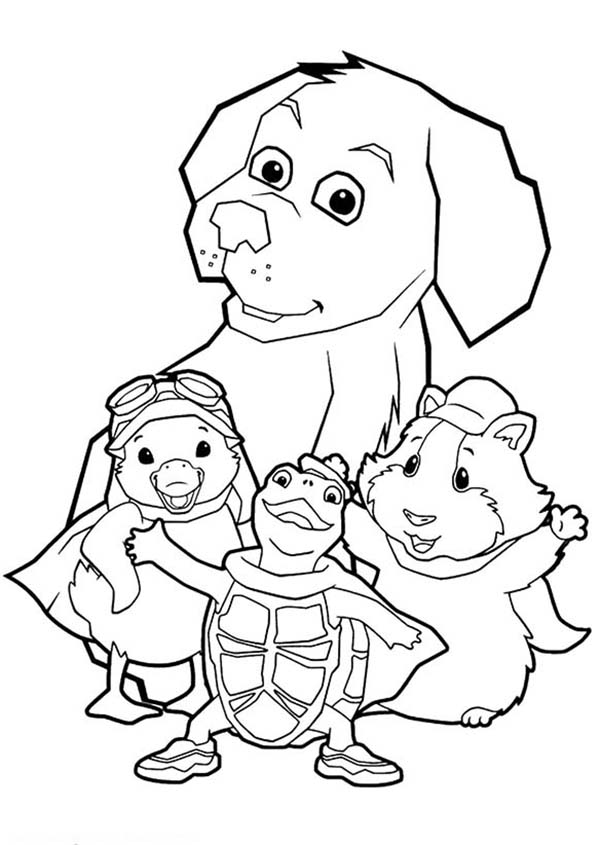 The Wonder Pets, : Linny Turtle Tuck and Ming Ming Try to Protect the Dog in Wonder Pets Coloring Page