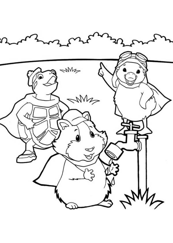 The Wonder Pets, : Linny Turtle Tuck and Ming Ming at the Backyard in Wonder Pets Coloring Page