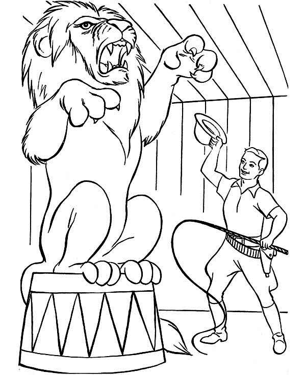Circus, : Lion Show at Circus Coloring Page
