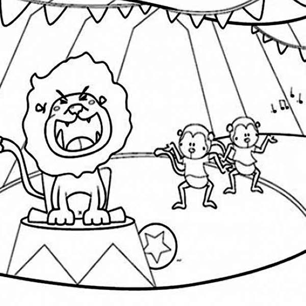Circus, : Lion and Two Monkey at Circus Show Coloring Page
