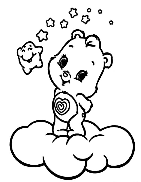 Care Bear, : Little Care Bear and Happy Star Coloring Page