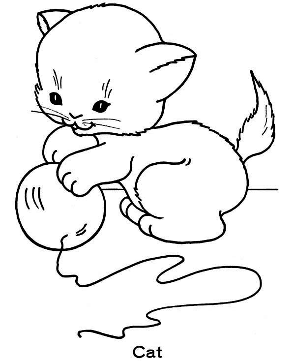 Cat, : Little Cat Play with Ball of Yarn Coloring Page