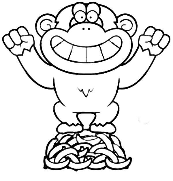 Chimpanzee, : Little Chimpanzee Standing on Mountain of Banana Coloring Page