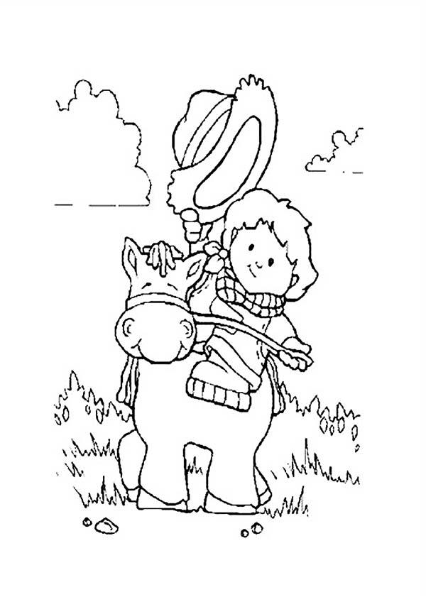 Cowboy, : Little Cowboy Ride a Pony Coloring Page