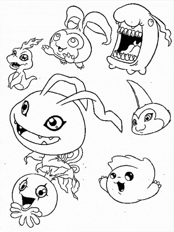 Digimon, : Little Digimon All Characters Coloring Page