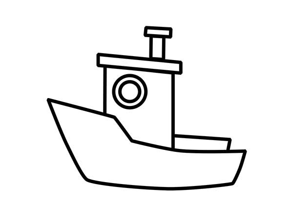 Boat, : Little Fishing Boat Coloring Page