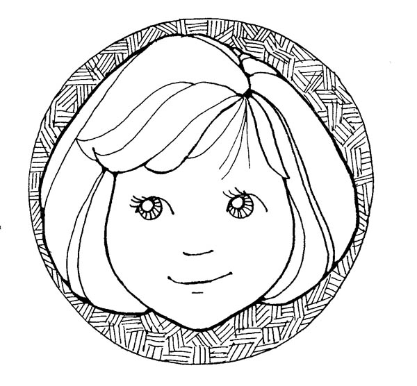 Face, : Little Girl Face in Circle Coloring Page